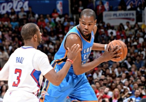 Kevin Durant will have to keep his scoring pace going as the MVP takes on the San Antonio Spurs in the Western Conference Finals. Credit: nba.si.com