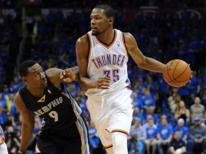 Kevin Durant took over the series against Memphis by averaging 29.9 points, 9.6 rebounds, 3.4 assists and 1.6 blocks per game. Credit: www.usatoday.com